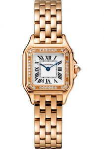 The elgant fake Panthère De Cartier WJPN0008 watches are made from 18k rose gold and diamonds.