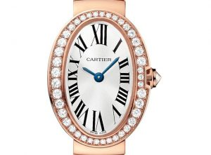 The elegant watches Cartier Baignoir WB520026 watches with silver-plated dials and Roman numerals.