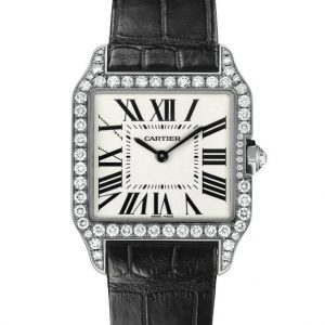 The luxury fake Santos De Cartier Santos-Dumont WH100651 watches are made from 18k white gold and diamonds.