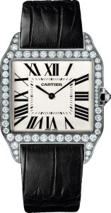 The comfortable copy Santos De Cartier Santos-Dumont WH100651 watches have matt alligator leather straps.