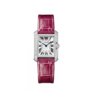 The 18k white gold copy Cartier Tank Anglaise WT100015 watches have pink straps.