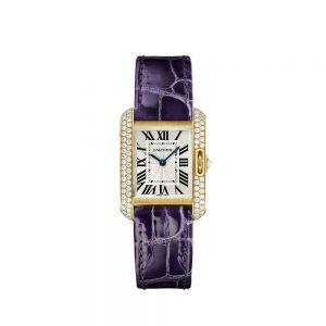 The 18k gold replica Cartier Tank Anglaise WT100014 watches have purple straps.