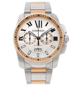 The sturdy copy Calibre De Cartier W7100042 watches are made from 18k rose gold and stainless steel.