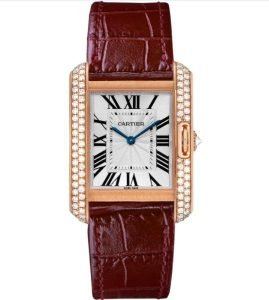 The 18k rose gold fake Cartier Tank Anglaise WT100013 watches have wine red straps.