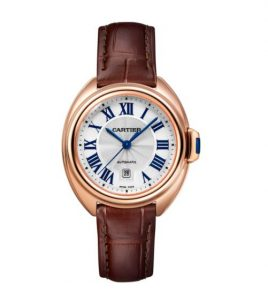 The well-designed watches are made from 18k rose gold and matched with brown alligator leather straps.