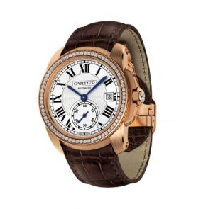 The luxury fake Calibre De Cartier WF100013 watches are made from 18k rose gold and diamonds.