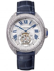 The luxury copy Clé De Cartier HPI00933 watches are made from 18k white gold and diamonds.