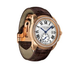 The comfortable copy Calibre De Cartier WF100013 watches have brown alligator leather straps.