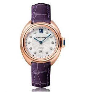 The luxury watches are also made from 18k rose gold. Together, they have special purple alligator leather straps.