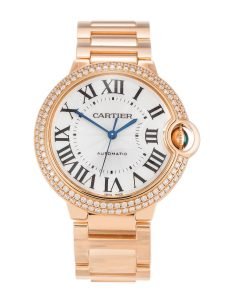 The attractive replica Ballon Bleu De Cartier WE9005Z3 watches are decorated with diamonds.