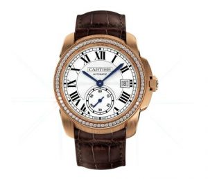 The 38 mm replica Calibre De Cartier WF100013 watches have silver-plated dials with Roman numerals.