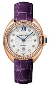 The luxury copy Clé De Cartier WJCL0038 watches are made from 18k rose gold and decorated with diamonds.