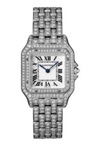 The luxury fake Panthère De Cartier HPI01130 watches are made from 18k white gold.