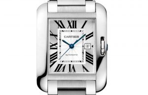 The large size replica Cartier Tank Anglaise W5310009 watches have silver-plated dials.