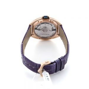 The attractive fake Clé De Cartier WJCL0038 watches have purple leather straps.