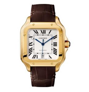 The large size copy Santos De Cartier WGSA0009 watches have silver-plated dials.
