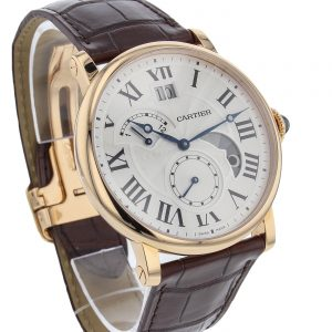 The 42 mm replica Rotonde De Cartier W1556240 watches have silver-plated dials.
