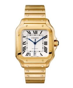 The luxury replica Santos De Cartier WGSA0009 watches are made from yellow gold.