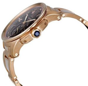 The luxury fake Calibre De Cartier W7100040 watches are made from 18k rose gold.
