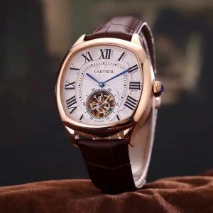 The luxury fake Drive De Cartier W4100013 watches are made from 18k rose gold and have brown leather straps.