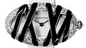 The precious replica Cartier Baignoire Interdite watches are made from 18k white gold and diamonds.
