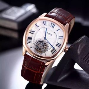 The 40*41 mm copy Drive De Cartier W4100013 watches have silvery-dials with tourbillons.