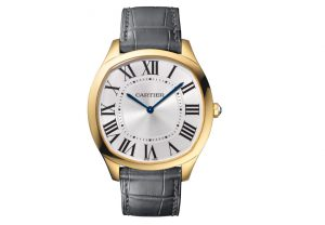 The male fake Drive De Cartier WGNM0011 watches have silver-plated dials.