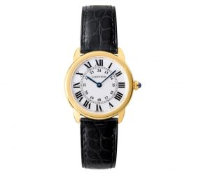 The 18k gold replica Ronde Solo De Cartier W6700355 watches have silver-plated dials.