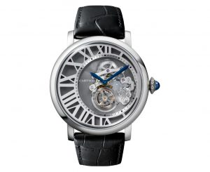 The 46.2 mm fake Rotonde De Cartier W1556214 watches have skeleton dials.