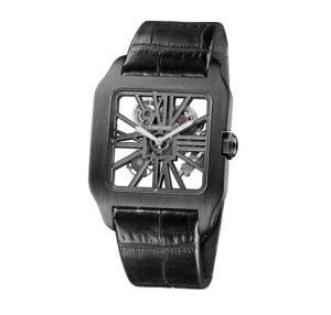 The special fake Santos De Cartier Santos-Dumont W2020052 watches have skeleton dials.