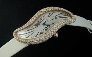 The charming replica Cartier Baignoire Délices WJ306016 watches have white spun silk straps.