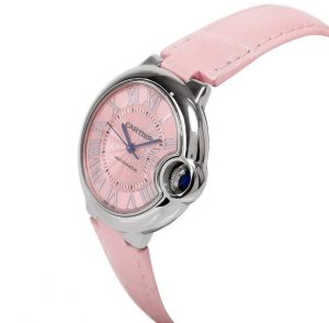 The pink dials copy Cartier watches have pink leather straps.