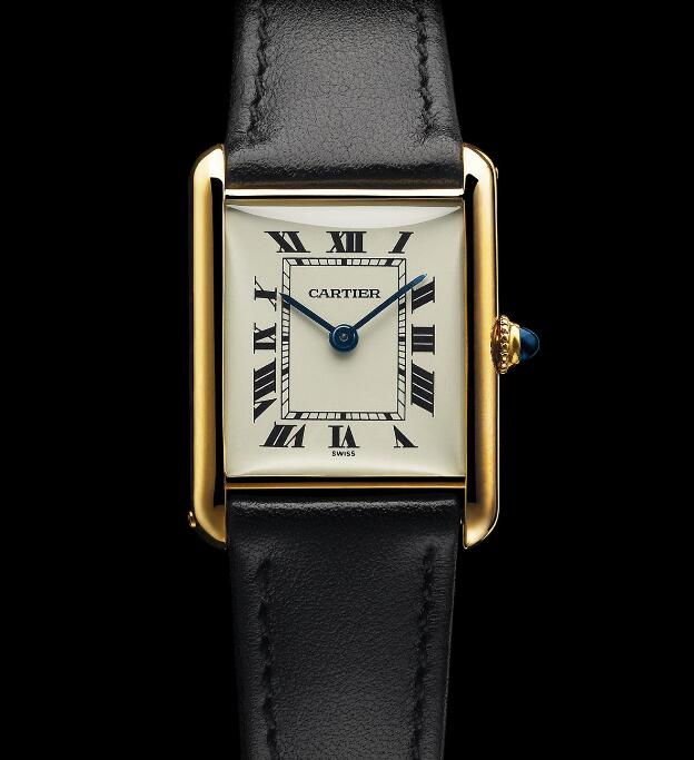 The blue hands and black Roman numerals hour markers are striking on the silver dial.