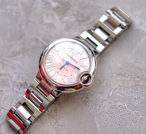 The pink dial of this Cartier will remind you of your sweet girlhood.