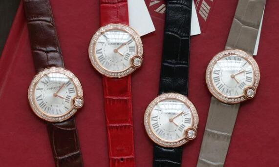 The diamonds paved on the bezels add the feminine touch to the watches.